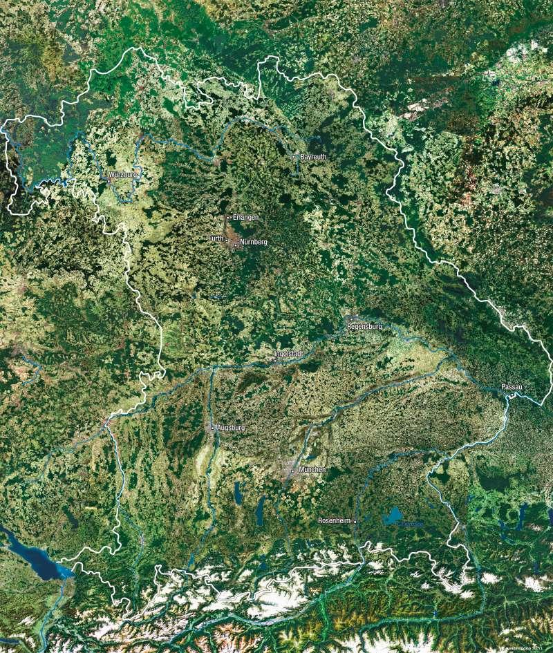 Bayern   Satellitenbild   Vom Bild zur Karte   Karte 9/3