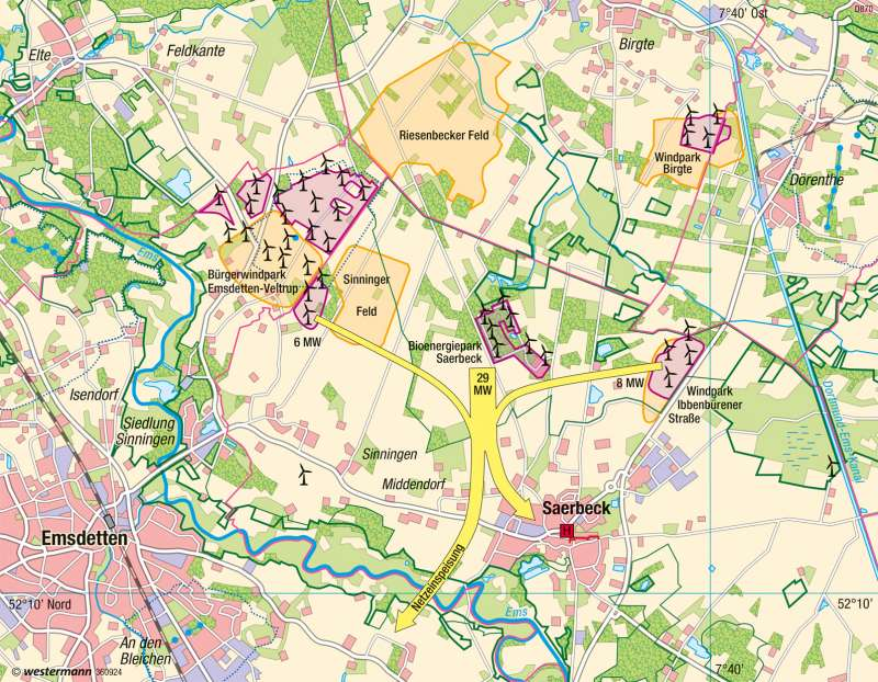 Karte Münsterland.Diercke Weltatlas Kartenansicht Saerbeck Münsterland