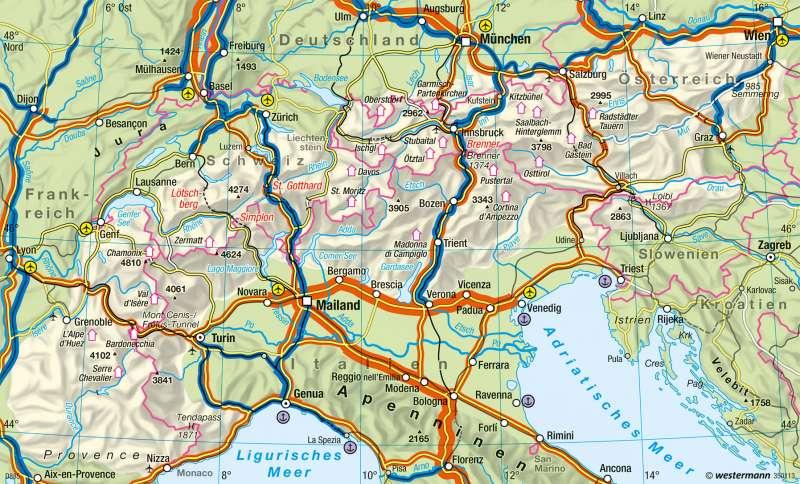 Alpen | Transitverkehr und Raumstruktur | Europa - Verkehr | Karte 104/2