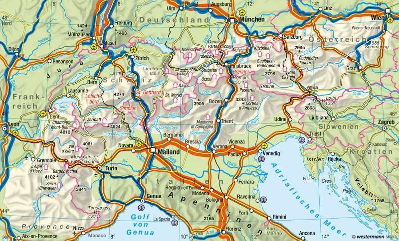 Alpen | Transitverkehr und Raumstruktur | Verkehr | Karte 64/2