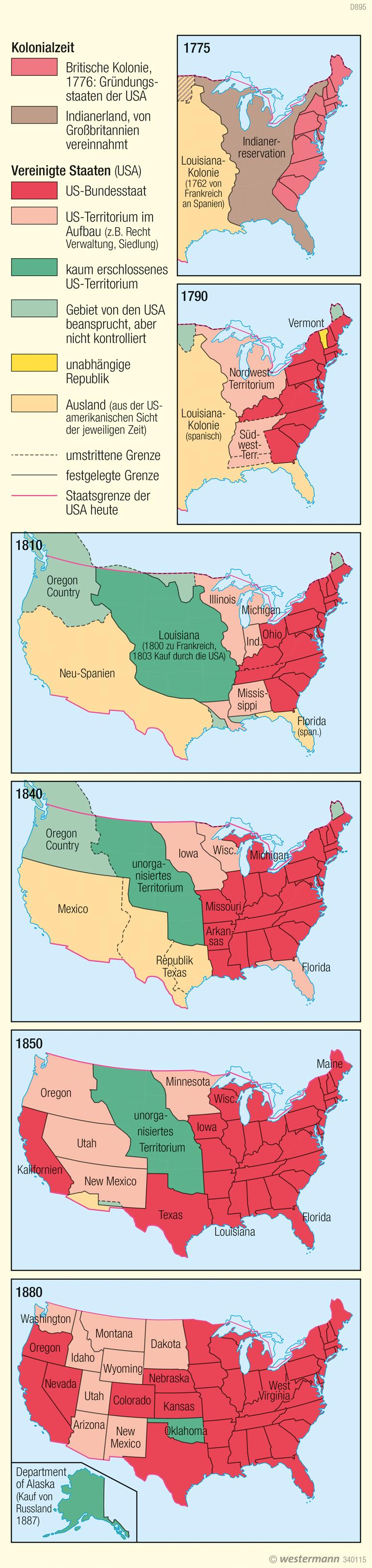 USA | Territoriale Entwicklung | Physische Karte | Karte 151/2