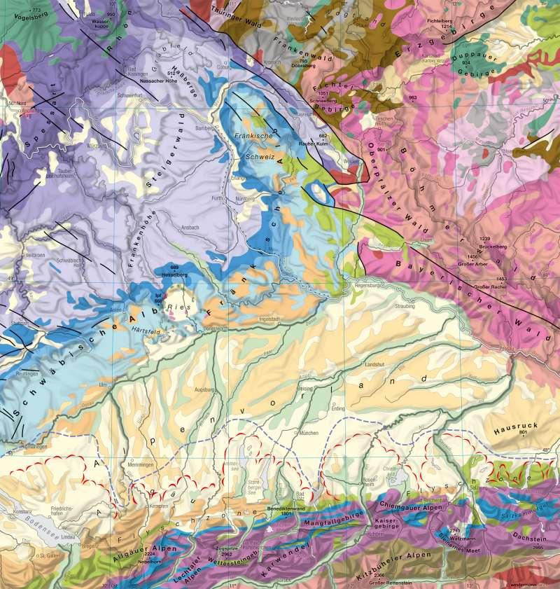 geologische karte bayern Diercke Weltatlas   Kartenansicht   Bayern   Geologie   978 3 14
