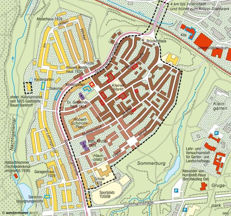 Essen-Margarethenhöhe | Gartenstadt | Deutschland - Stadtstrukturen | Karte 79/3