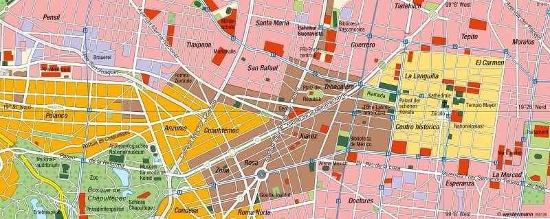 Mexiko-Stadt | Innenstadt | Mexiko - Lateinamerikanische Stadt | Karte 223/6