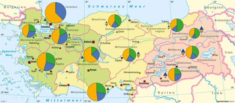 Türkische Riviera Karte.Diercke Weltatlas Kartenansicht Türkei Bevölkerung Und