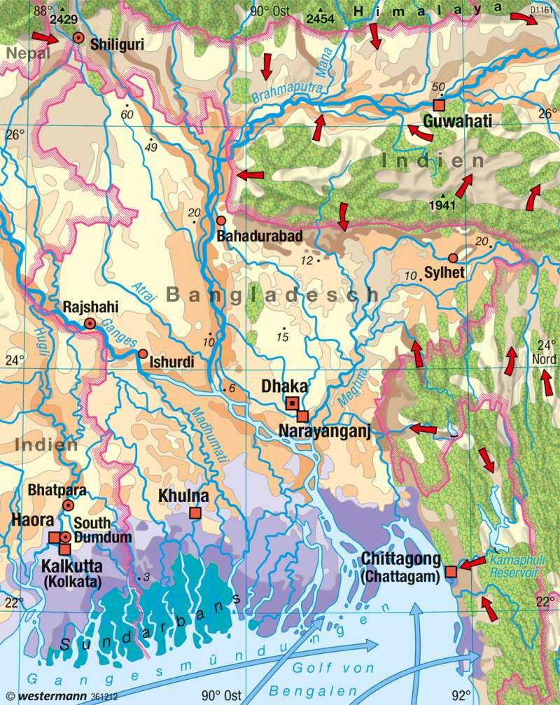 Bangladesch | Überschwemmungen | Südasien - Vielfalt der Raumstrukturen | Karte 183/7