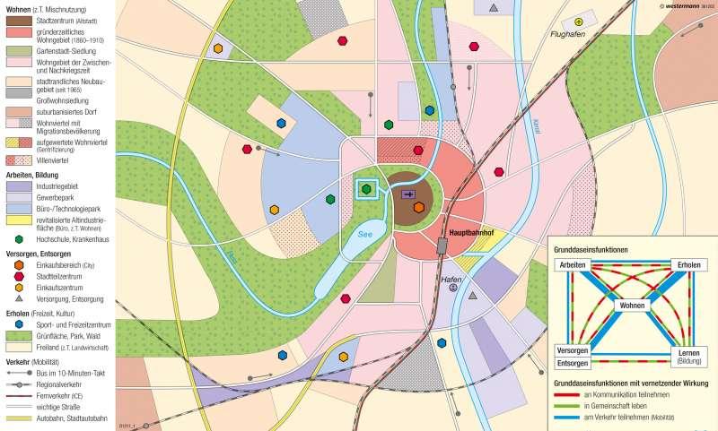 Münster | Strukturen einer deutschen Großstadt | Deutschland - Stadtstrukturen | Karte 78/1