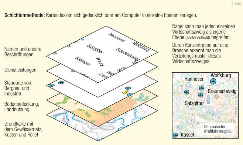 | Verteilungen von Standorten eines Wirtschaftszweiges ergänzen | Kartenlesen - Wirtschaftskarten auswerten | Karte 15/11