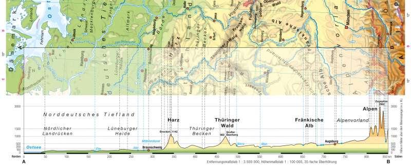 | Zeichnen eines Höhenprofils | Kartenlesen - Physische Karten auswerten | Karte 16/2