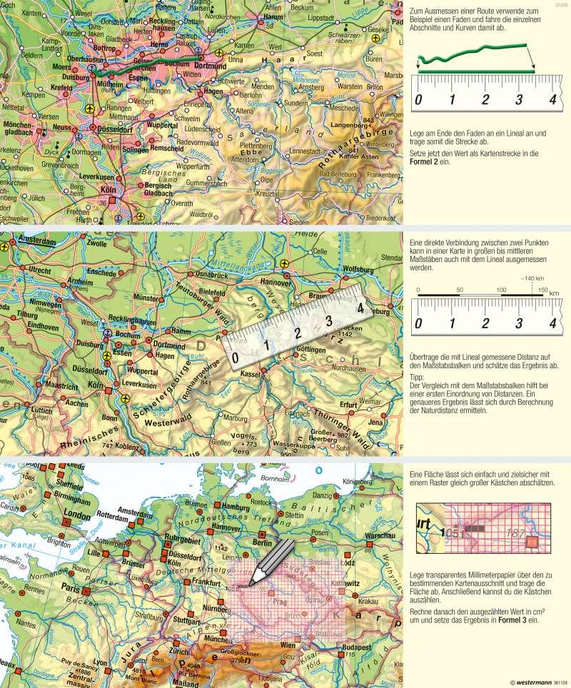 | Messen in Karten | Kartenlesen - Mit dem Maßstab arbeiten | Karte 17/4