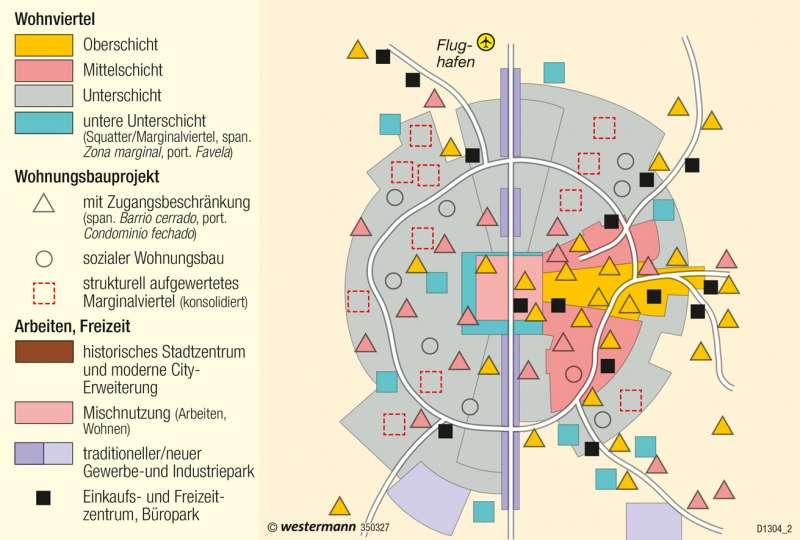 | Strukturmodell der lateinamerikanischen Stadt | Mexiko - Lateinamerikanische Stadt | Karte 223/4