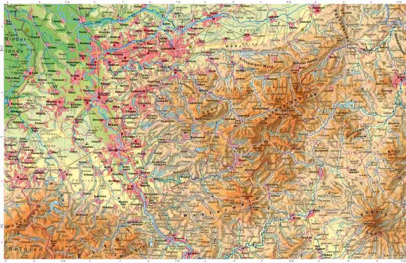 Sauerland Karte.Diercke Weltatlas Kartenansicht Physische Karte 978