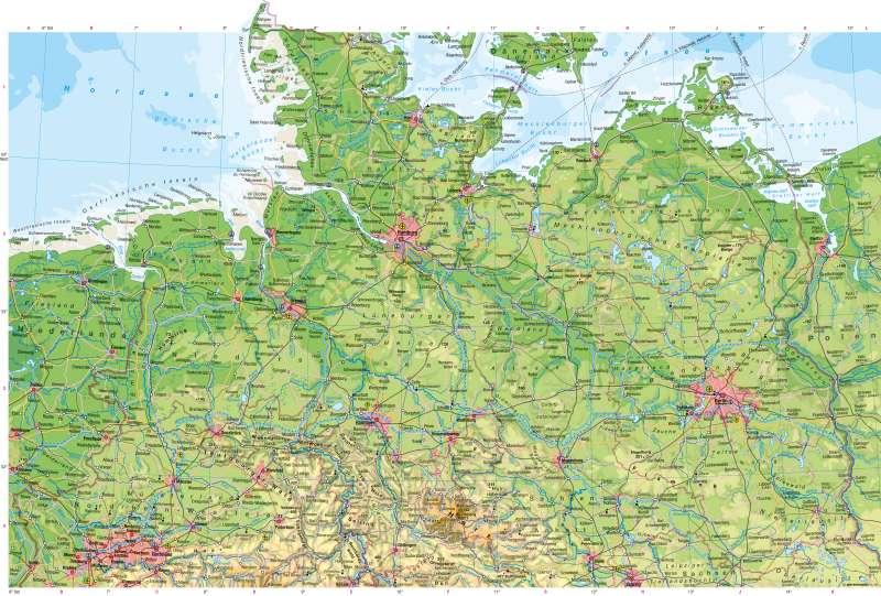 Deutschland nördlicher Teil | Physische Karte | Physische Karte | Karte 24/1