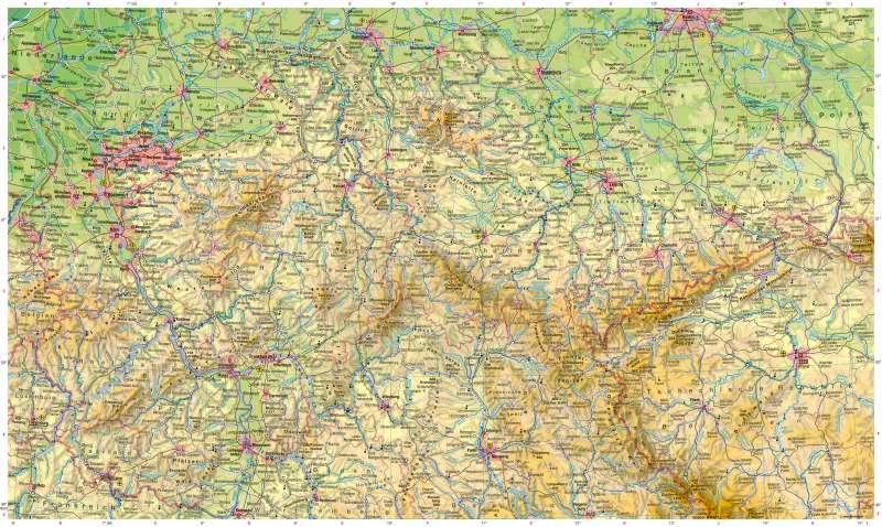 Deutschland mittlerer Teil | Physische Karte | Deutschland mittlerer Teil - Physische Karte | Karte 22/1