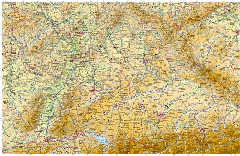 Deutschland südlicher Teil | Physische Karte | Deutschland südlicher Teil - Physische Karte | Karte 24/1