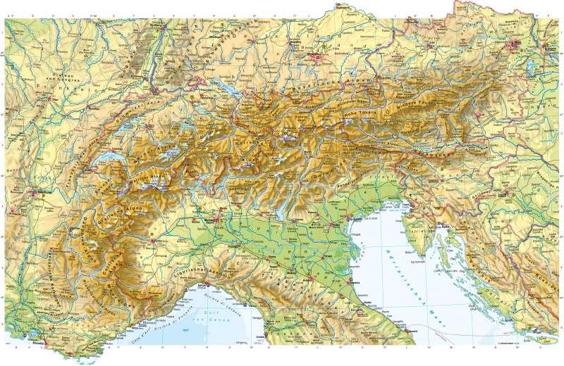 Alpenländer | Physische Karte | Alpenländer - Physische Karte | Karte 114/1