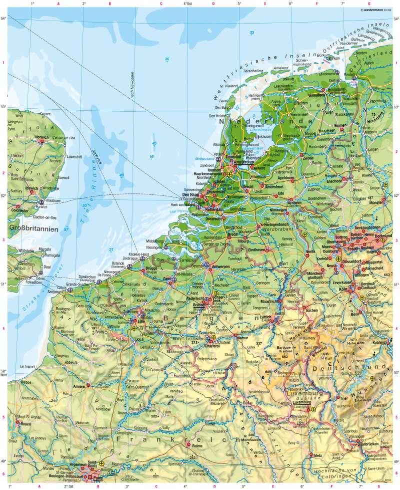 Niederlande, Belgien, Luxemburg | Physische Karte | Physische Karte | Karte 74/1