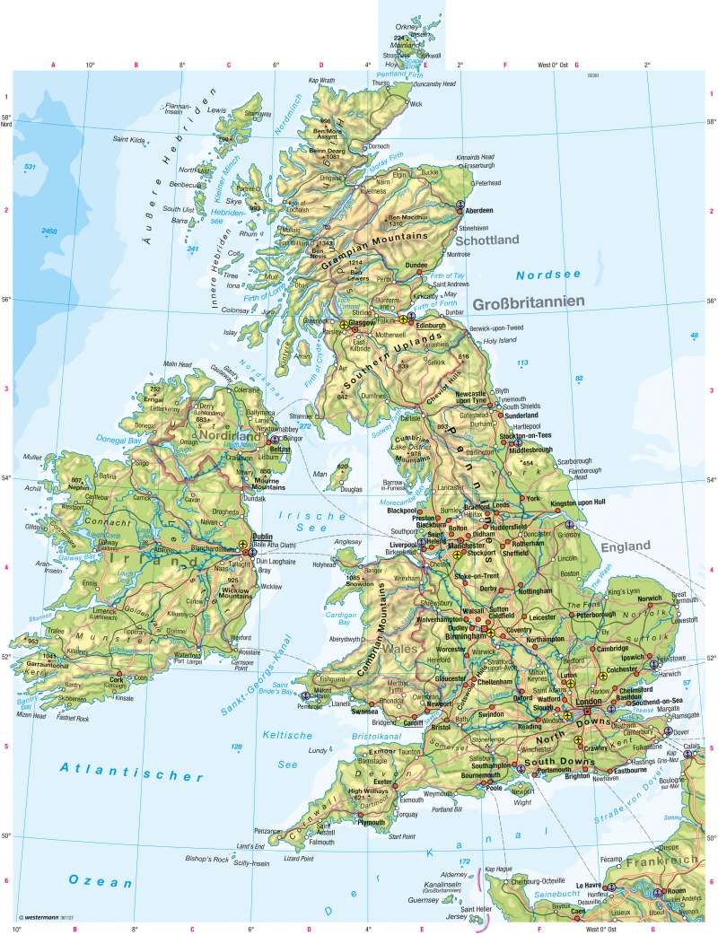 Diercke Weltatlas Kartenansicht Britische Inseln Physische