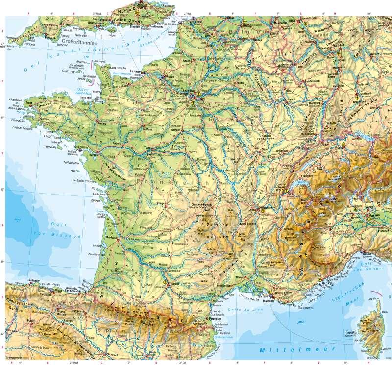 Frankreich | Physische Karte | Physische Karte | Karte 82/1