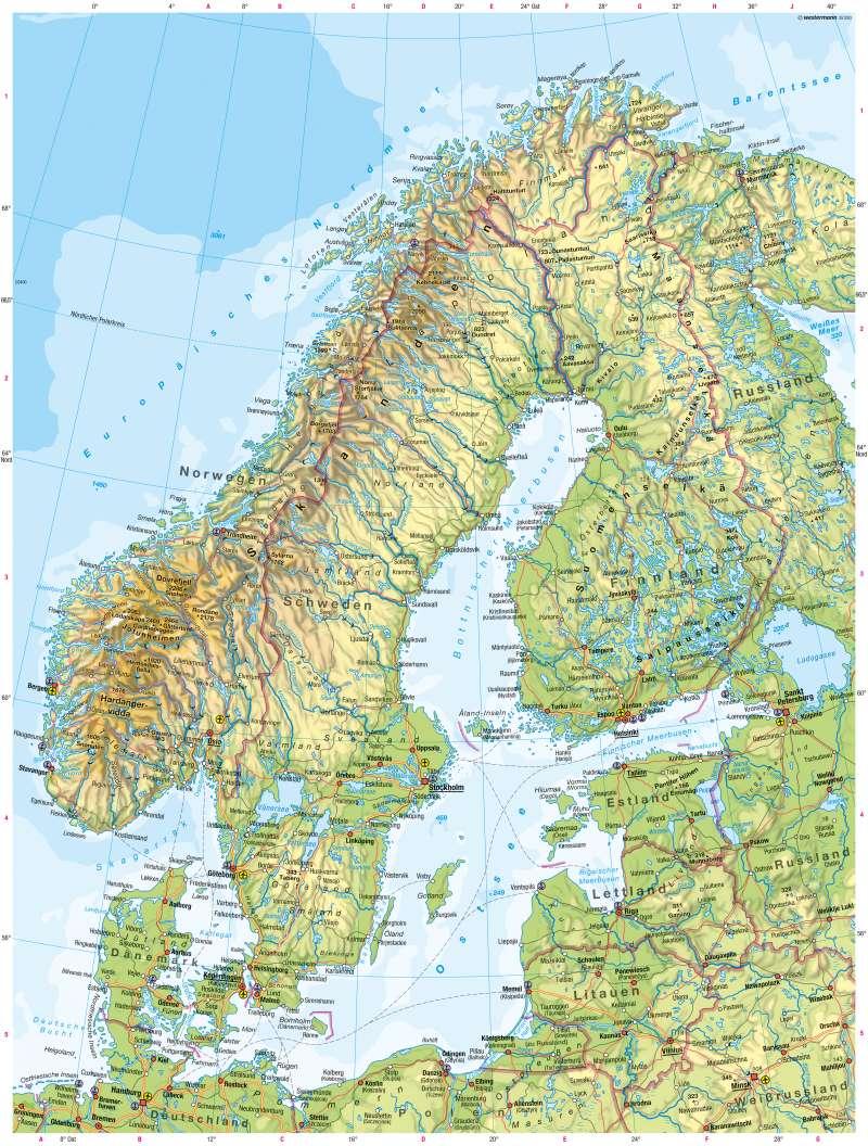 Skandinavien, Baltikum | Physische Karte | Physische Karte | Karte 68/2
