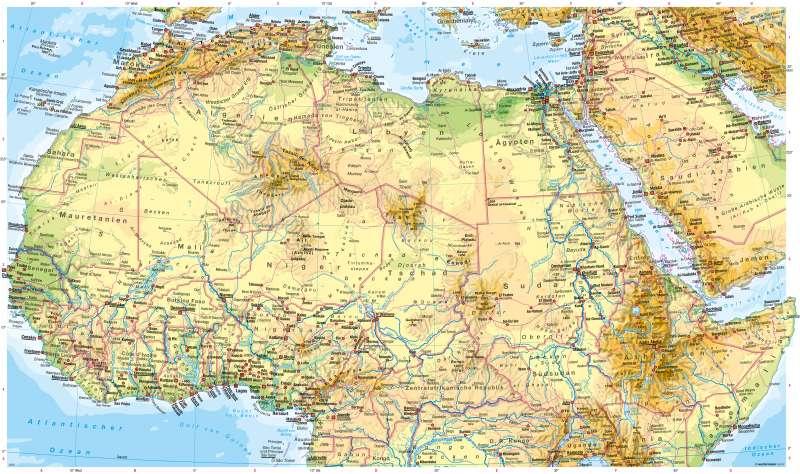 physische karte Diercke Weltatlas   Kartenansicht   Afrika nördlicher Teil  physische karte