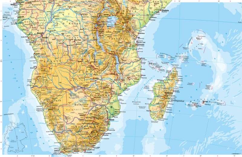 Afrika südlicher Teil | Physische Karte | Afrika südlicher Teil - Physische Karte | Karte 156/1