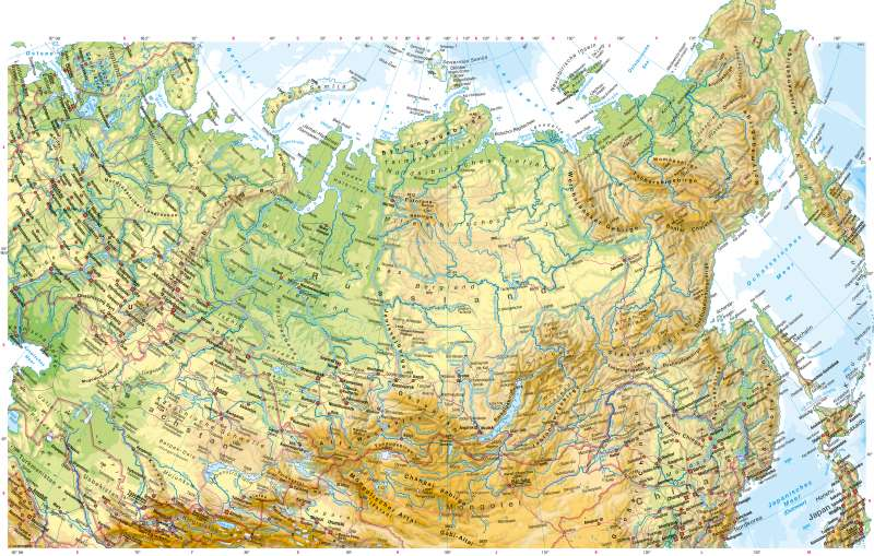 Nordasien | Physische Karte | Physische Karte | Karte 116/1