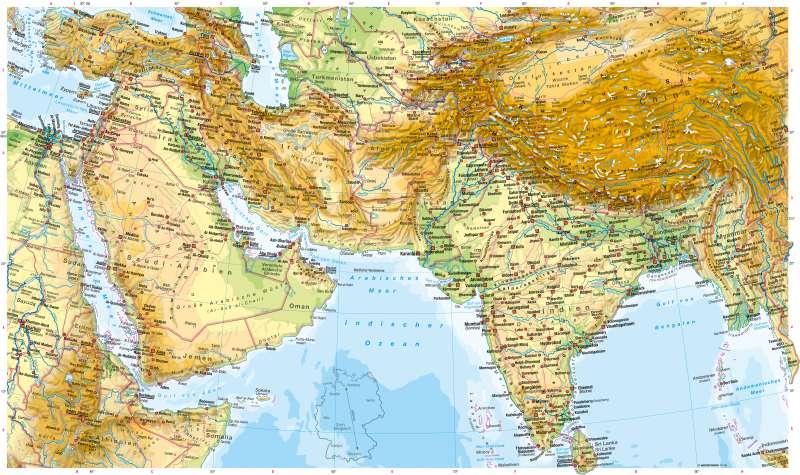 West- und Südasien | Physische Karte | West- und Südasien - Physische Karte | Karte 174/1