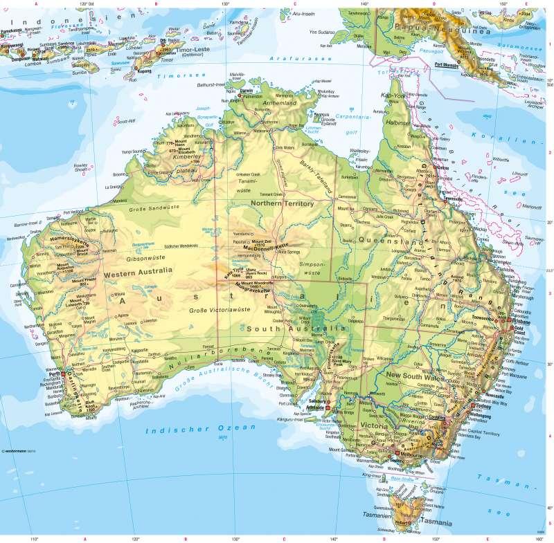 Australien | Physische Karte | Australien - Räumliche Erschließung und physische Karte | Karte 200/4