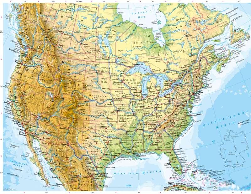 USA, Kanada | Physische Karte | Vereinigte Staaten von Amerika (USA), Kanada - Physische Karte | Karte 212/1