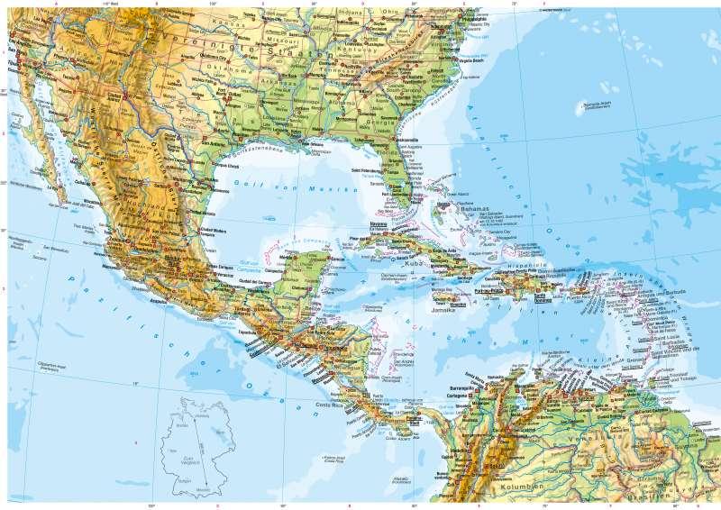 Physische Karte Lateinamerika.Diercke Weltatlas Kartenansicht Mittelamerika