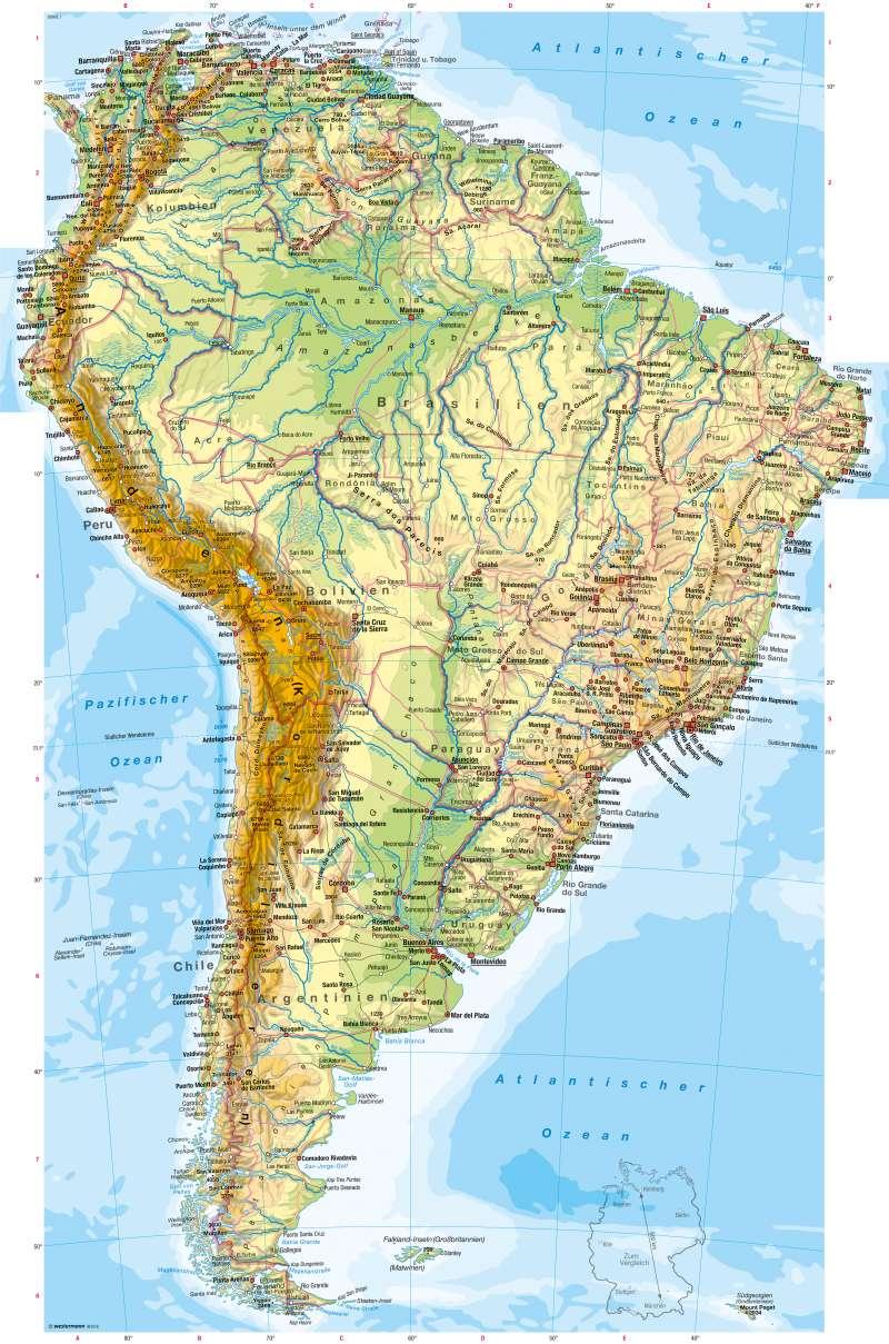 Stumme Karte Nordamerika.Diercke Weltatlas Kartenansicht Südamerika Physische Karte