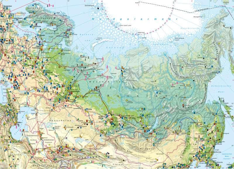 Russland und Zentralasien | Wirtschaft | Russland und Zentralasien - Wirtschaft | Karte 150/1