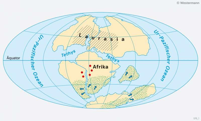 Erde | Die Wanderung der Kontinente seit dem Erdmittelalter | Entwicklung der Kontinente und des Lebens | Karte 12/1