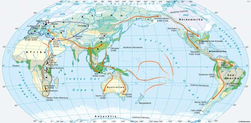 Erde   Menschen besiedeln die Erde   Ur- und Frühgeschichte   Karte 24/1