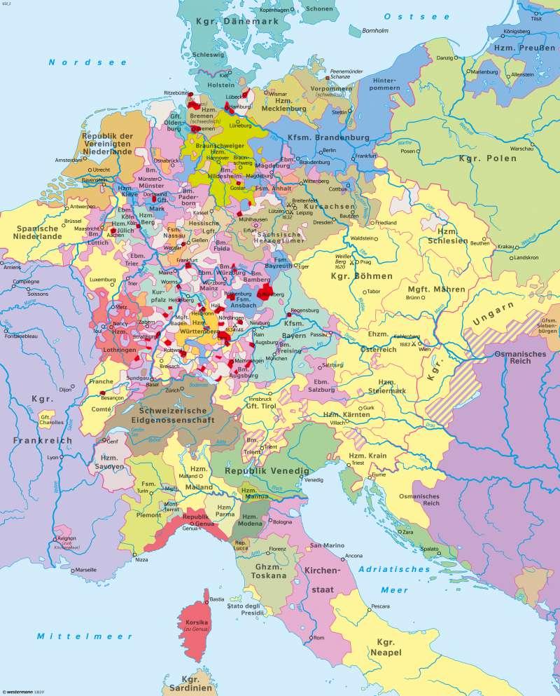 Mitteleuropa | Heiliges Römisches Reich um 1648 | Mitteleuropa | Karte 65/2
