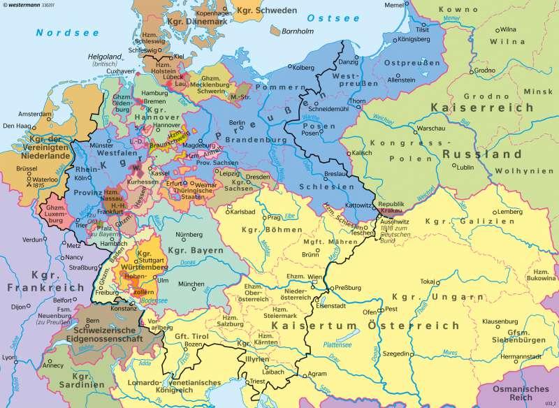 Deutschland | Deutscher Bund 1815 | Deutschland - Staatlicher Wandel 1815–1932 | Karte 66/1