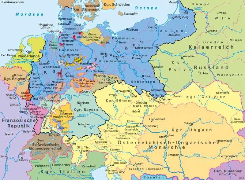 Deutschland | Deutsches Kaiserreich 1871 | Deutschland - Staatlicher Wandel 1815–1932 | Karte 66/2