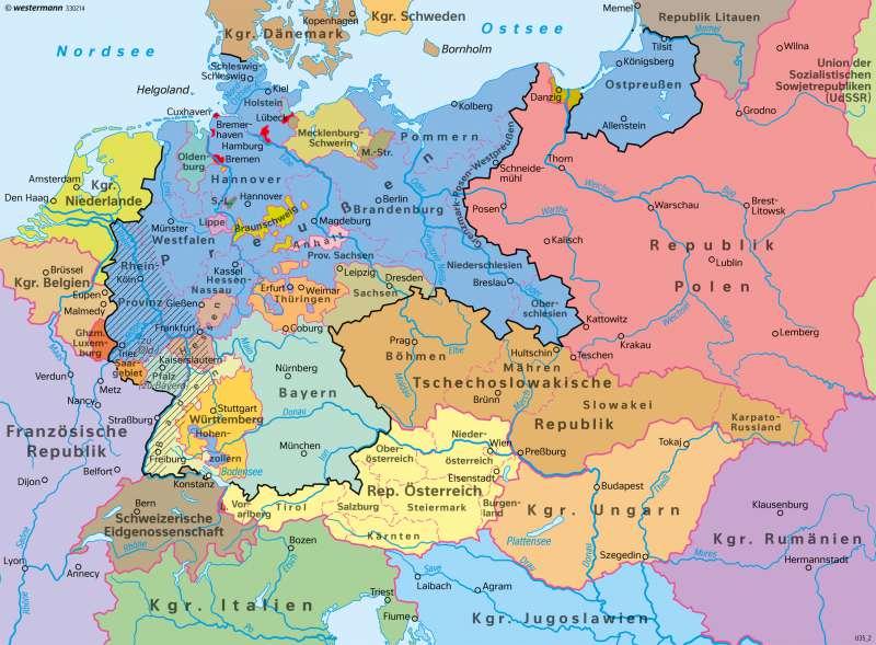 Deutschland | Weimarer Republik 1932 | Deutschland - Staatlicher Wandel 1815–1932 | Karte 67/4