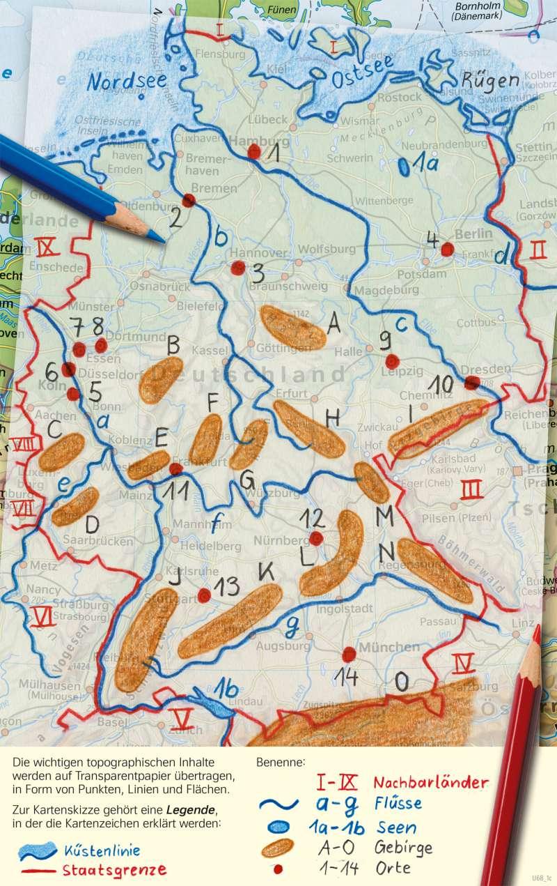 Deutschland | Eine Kartenskizze auf Transparent anlegen | Deutschland - Orientierung | Karte 50/3
