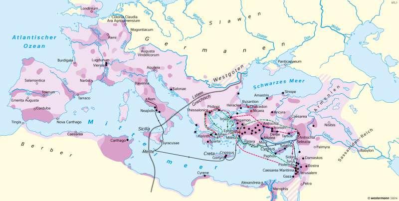 Römisches Reich Anfänge und Ausbreitung des Christentums      Erde - Glaubensgemeinschaften   Karte 37/3