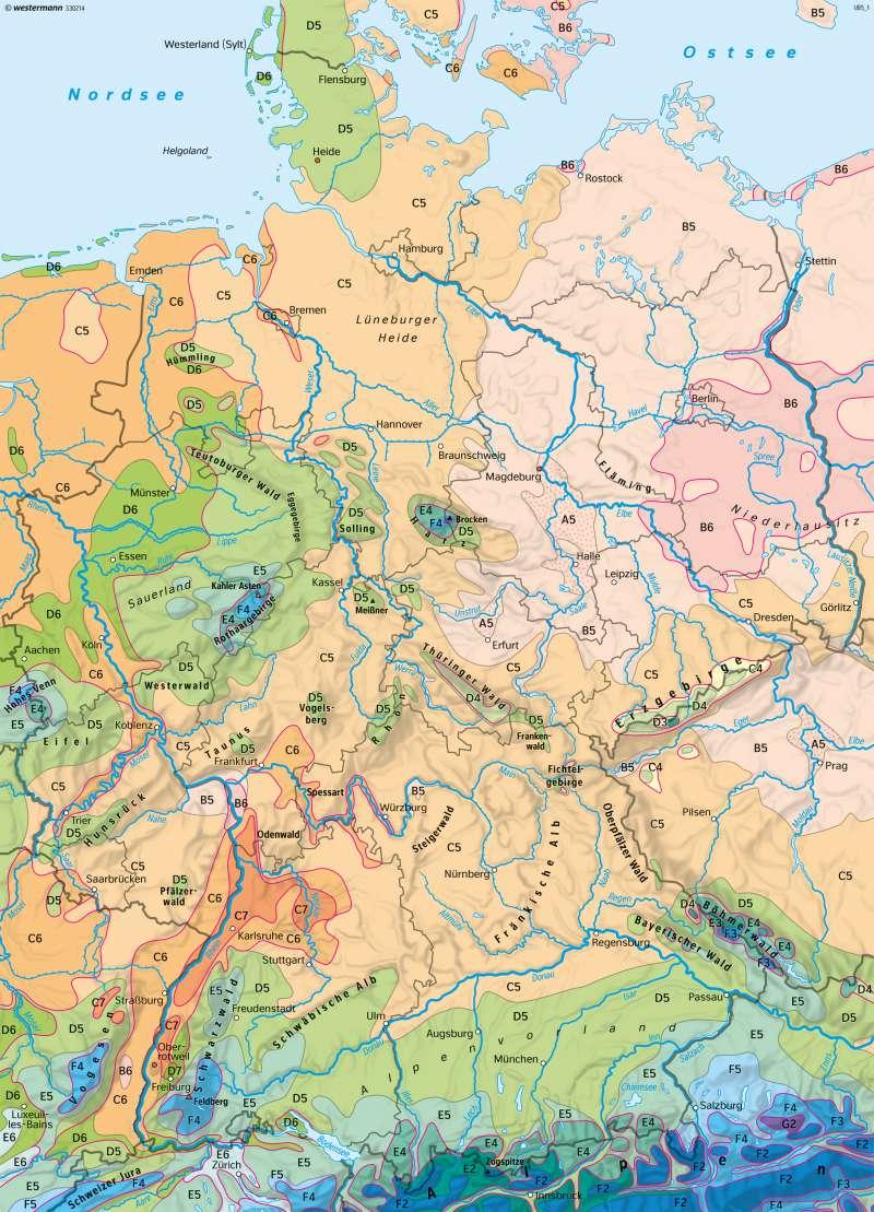 Diercke Weltatlas Kartenansicht Deutschland Klimaregionen