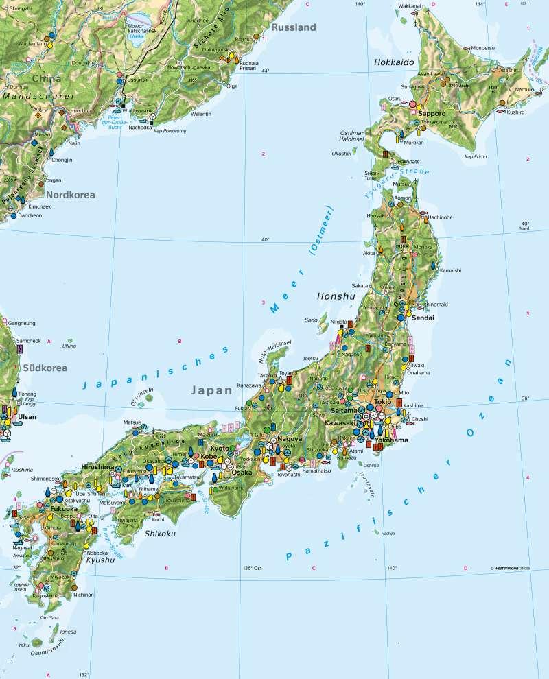 Diercke Weltatlas Kartenansicht Japan Wirtschaft 978 3 14