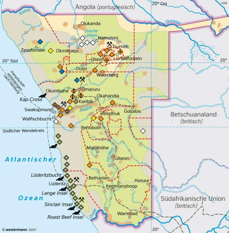 Deutsch-Südwestafrika | Kolonie um 1915 | Afrika - Staaten und Geschichte | Karte 184/4