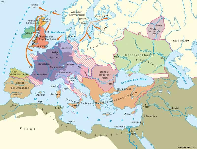 Europa | Europa am Ende der Herrschaft Karls des Großen um 814 | Europa - Mittelalter | Karte 102/1