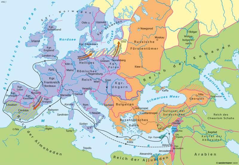 Europa | Zeit der ersten Kreuzzüge Ende 12. Jahrhundert | Europa - Mittelalter | Karte 102/2
