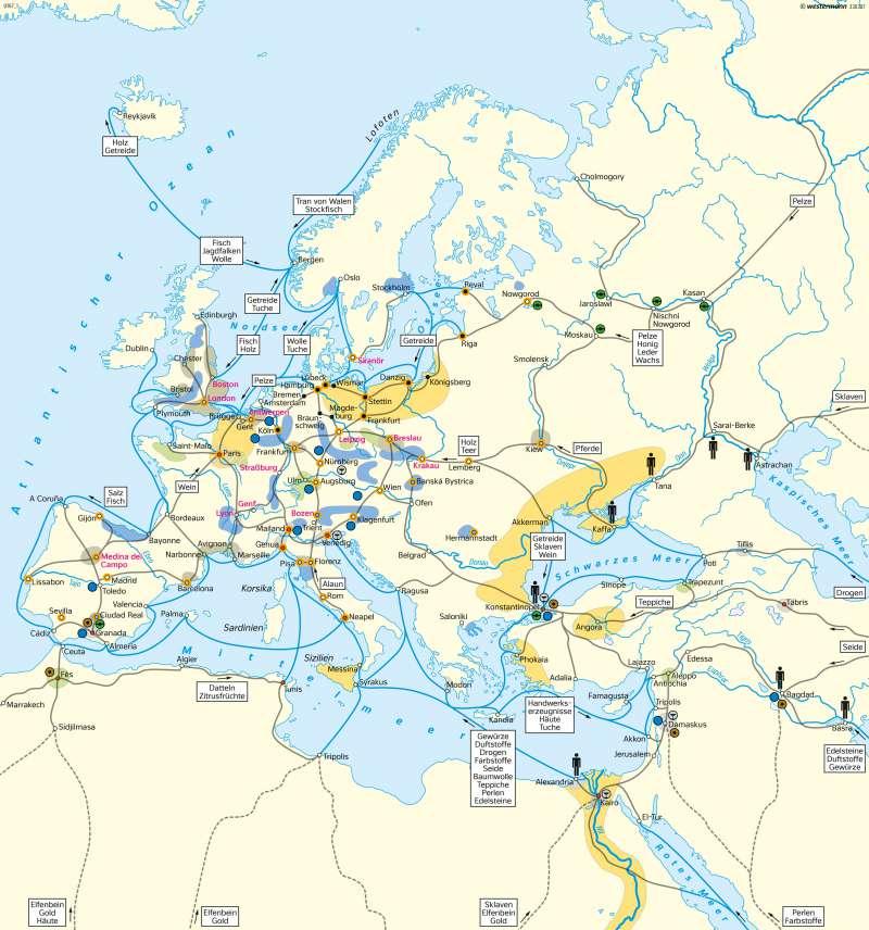 Europa und Orient | Handel und Wirtschaft im 15. Jahrhundert | Europa - Mittelalter | Karte 103/3