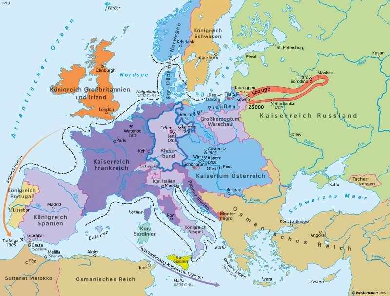 Europa | Das Zeitalter Napoleons um 1812 | Europa - Neuzeit | Karte 105/3
