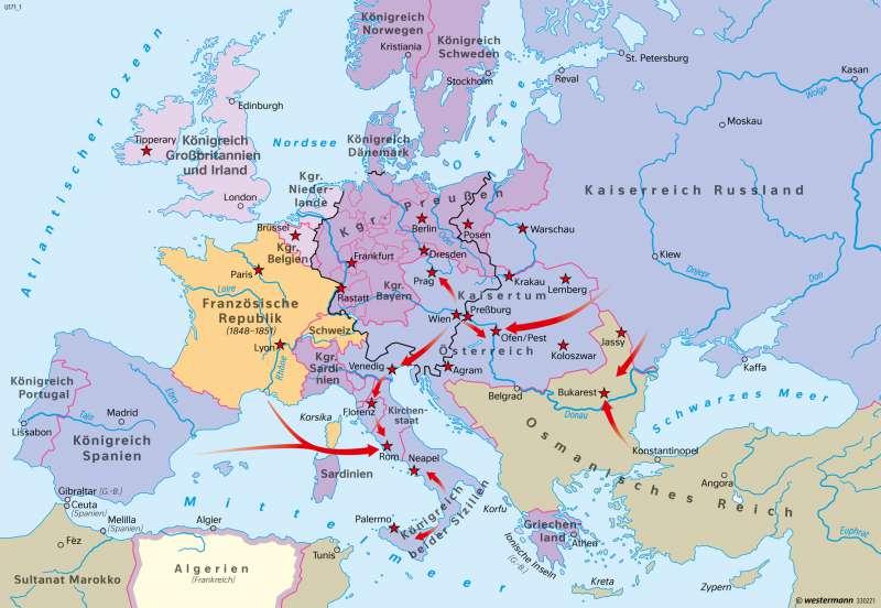 Europa | Revolution und Reaktion 1848/1849 | Europa - Neuzeit | Karte 105/4
