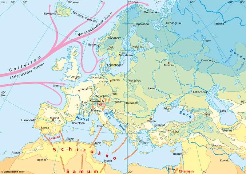 Europa   Temperaturen im Januar   Europa - Klima   Karte 114/1
